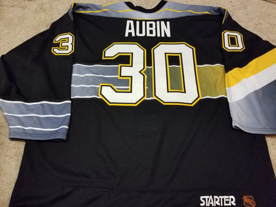 JS Aubin 98 99 ROOKIE Black Pittsburgh Penguins Game Worn Jersey a5607e412